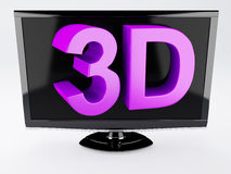 3d tv, technology concept.  white. Image of three dimensional television screen with 3D text.  white Royalty Free Stock Photo