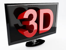 3d tv, technology concept.  white. Image of three dimensional television screen with 3D text.  white Stock Image
