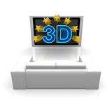 3D TV. 3D text is coming out from tv Royalty Free Stock Photography