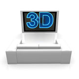 3D TV. 3D text is coming out from tv Royalty Free Stock Images