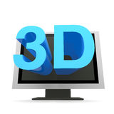 3D TV. 3D text is coming out from tv Stock Photography