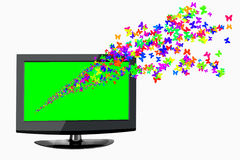 3D TV waar een zwerm van vlinders uit Stock Afbeeldingen