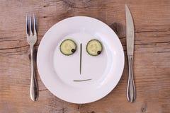 d twarzy przyglądający męski neutralny talerza warzywo Fotografia Stock