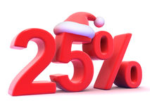 3d Twenty five percent symbol wearing a Santa Claus hat Stock Photography