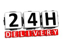 3D Twenty Four Hour Delivery Button Click Here Block Text. Over white background Royalty Free Stock Photography