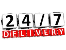 3D Twenty Four Seven Delivery Button Click Here Block Text. Over white background Royalty Free Stock Image