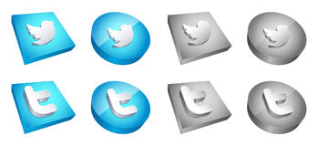 8 3d twitter buttone. Glossy 4 twitter button icons and 4 with gray scale Royalty Free Illustration