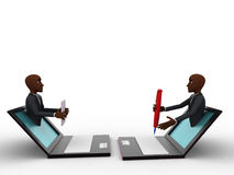 3d two bald head man come through laptop one with pend and other with paper concept Stock Image