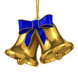 3d Two blue Christmas bells with blue ribbon Stock Photography