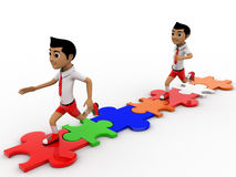 3d two boys doing race on puzzle track concept Royalty Free Stock Photos