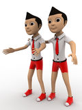 3d two boys friends walking concept Stock Photography