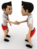 3d two boys shaking hand concept Stock Photography