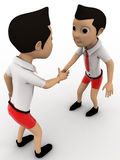 3d two boys shaking hand concept Stock Photo