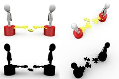 3d two character with puzzle concept collections with alpha and shadow channel Stock Photos
