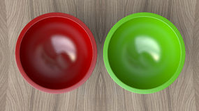 3d two empty salad bowl Stock Photo