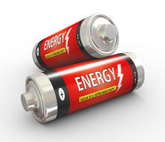 3d two energy batteries. 3d illustration of two fully charge batteries on white background Stock Image