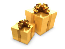 3d Two gold gifts Royalty Free Stock Photography