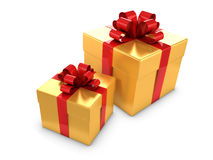 3d Two gold and red gift boxes Royalty Free Stock Photo