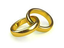 3d Two gold rings entwined Stock Images