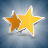 3d - Two gold stars on blue  background. 3d - Two gold stars on blue gradient  background Stock Images