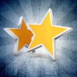 3d - Two gold stars on blue  background. 3d - Two gold stars on blue gradient  background Stock Image