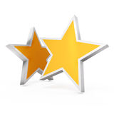 3d - Two gold stars on white background Royalty Free Stock Images