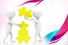 3d two man build puzzle  illustration Stock Images