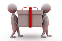 3d two man carry gift concept Royalty Free Stock Image