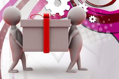 3d two man carry gift  illustration Stock Image