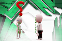 3d two man check list illustration Royalty Free Stock Photography