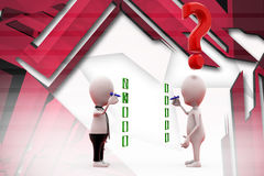 3d two man check list illustration Royalty Free Stock Photos