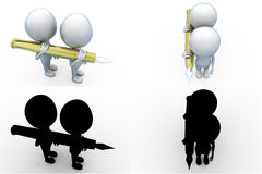 3d two man with pen concept collections with alpha and shadow channel Stock Photos