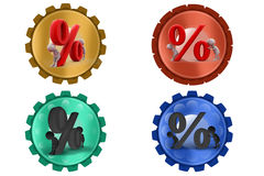 3d two Man with percent icon Stock Photography