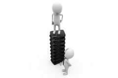 3d two man with pile of briefcase concept Royalty Free Stock Photo