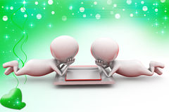3d two man read illustration Royalty Free Stock Photos