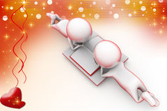 3d two man read illustration Royalty Free Stock Images