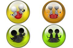 3D two Man sitting on disk concept icon Stock Image