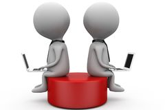 3d two man sitting on disk concept Stock Images