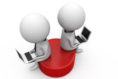 3d two man sitting on disk concept Royalty Free Stock Photos