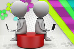 3d two man sitting on disk  illustration Stock Photos
