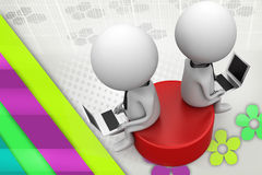 3d two man sitting on disk  illustration Royalty Free Stock Image
