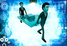 3d two men carry big book with small books illustration Stock Photos