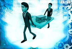 3d two men carry big book with small books illustration Royalty Free Stock Photography