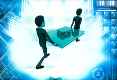 3d two men carry big book with small books illustration Royalty Free Stock Image