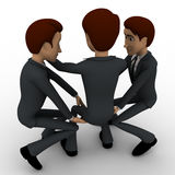 3d two men carry one man up in on sholder concept Stock Image