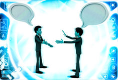 3d two men chating and having communication gap with chat bubbles illustration Royalty Free Stock Images