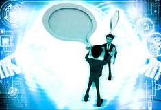 3d two men chating and having communication gap with chat bubbles illustration Royalty Free Stock Photo