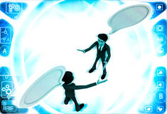 3d two men chating and having communication gap with chat bubbles illustration Stock Photo