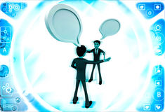 3d two men chating and having communication gap with chat bubbles illustration Royalty Free Stock Photography