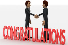 3d two men congratulate each other and with congratulation text concept Royalty Free Stock Photos